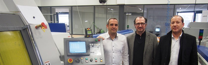 De gauche à droite : Jérôme Fresard (président d'AFT Micromécanique), Gilles Palefroy (directeur général d'Hestika France) et Vincent Poulain (technico-commercial chez Hestika à Cluses)