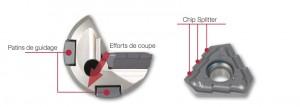 Une arête de coupe spéciale et un positionnement idéal des patins de guidage offrent une grande précision d'usinage